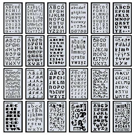 Lote de 24 plantillas para números de letras alfabeto para manualidades, manualidades, recortes,