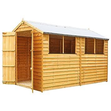 Waltons - Cobertizo de madera para jardín, con techo a dos aguas, aprox. 3 x 1, 8 m: Amazon.es: Jardín