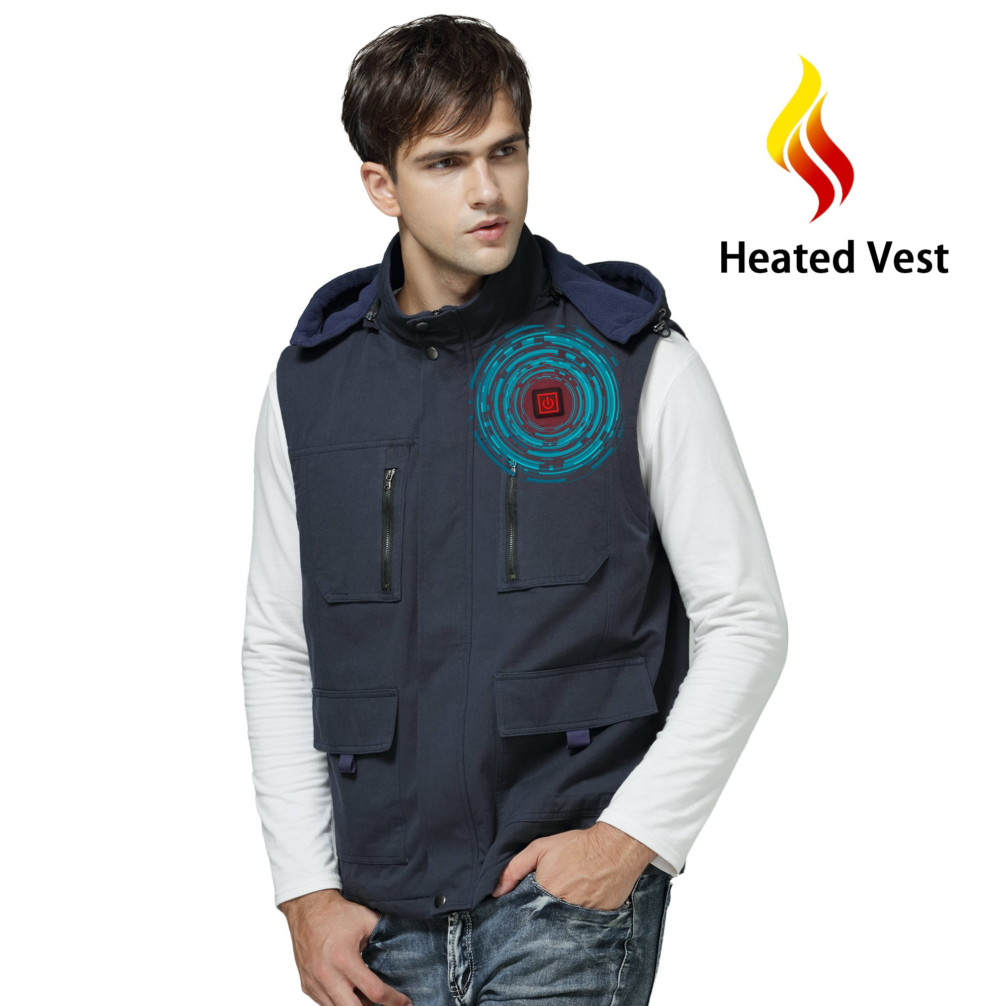 Autocastle Men's Electric Battery Heated Puffer Down Vests Gilet Hood Waistcoat Navy Large