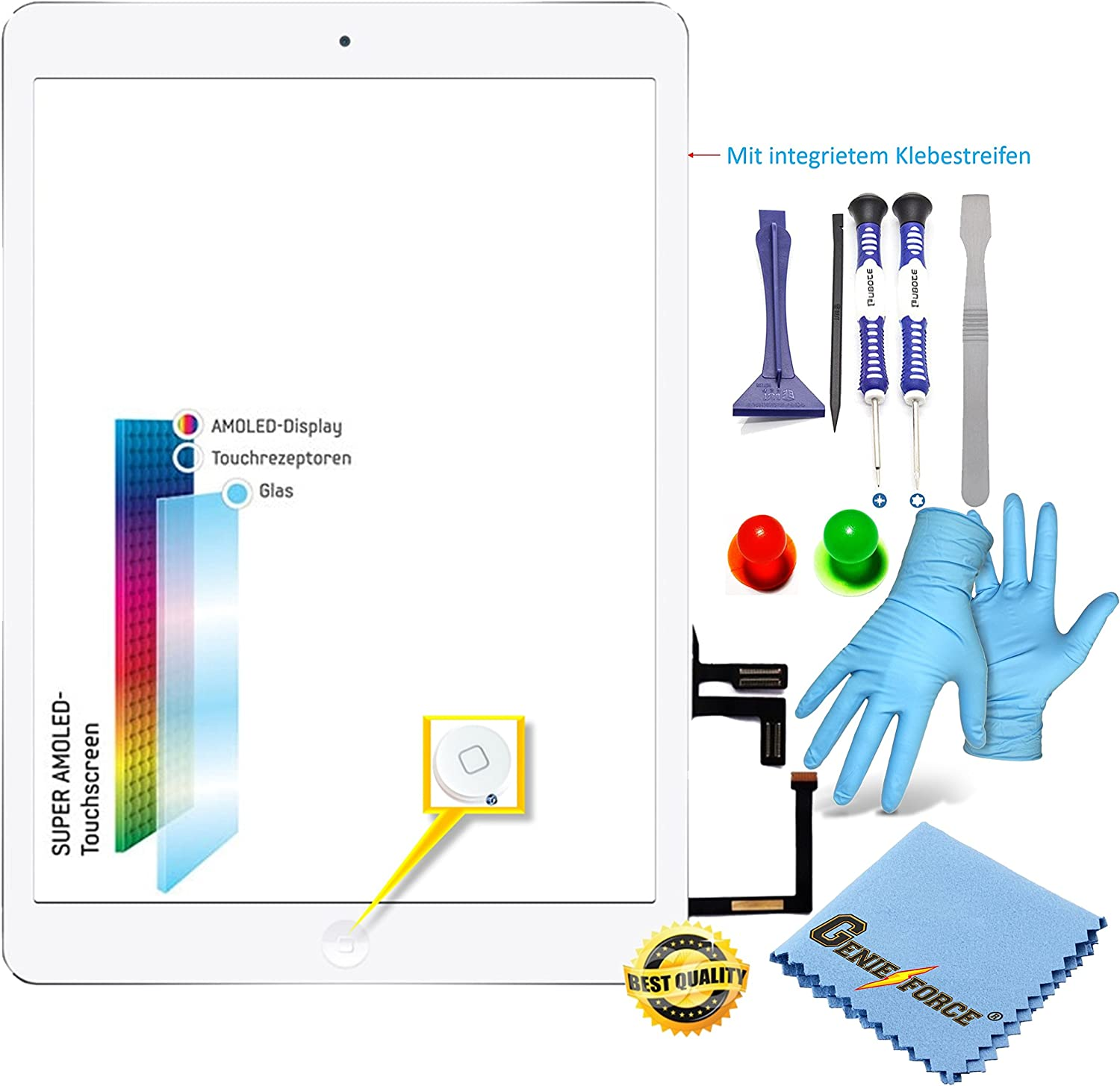 O E M X2714 Complete Touch Screen Digitizer Glass For Ipad Air Ipad 5 Screen Complete With Flex Cable And Home Button White Best Nano Professional 8 In 1 Tool Set