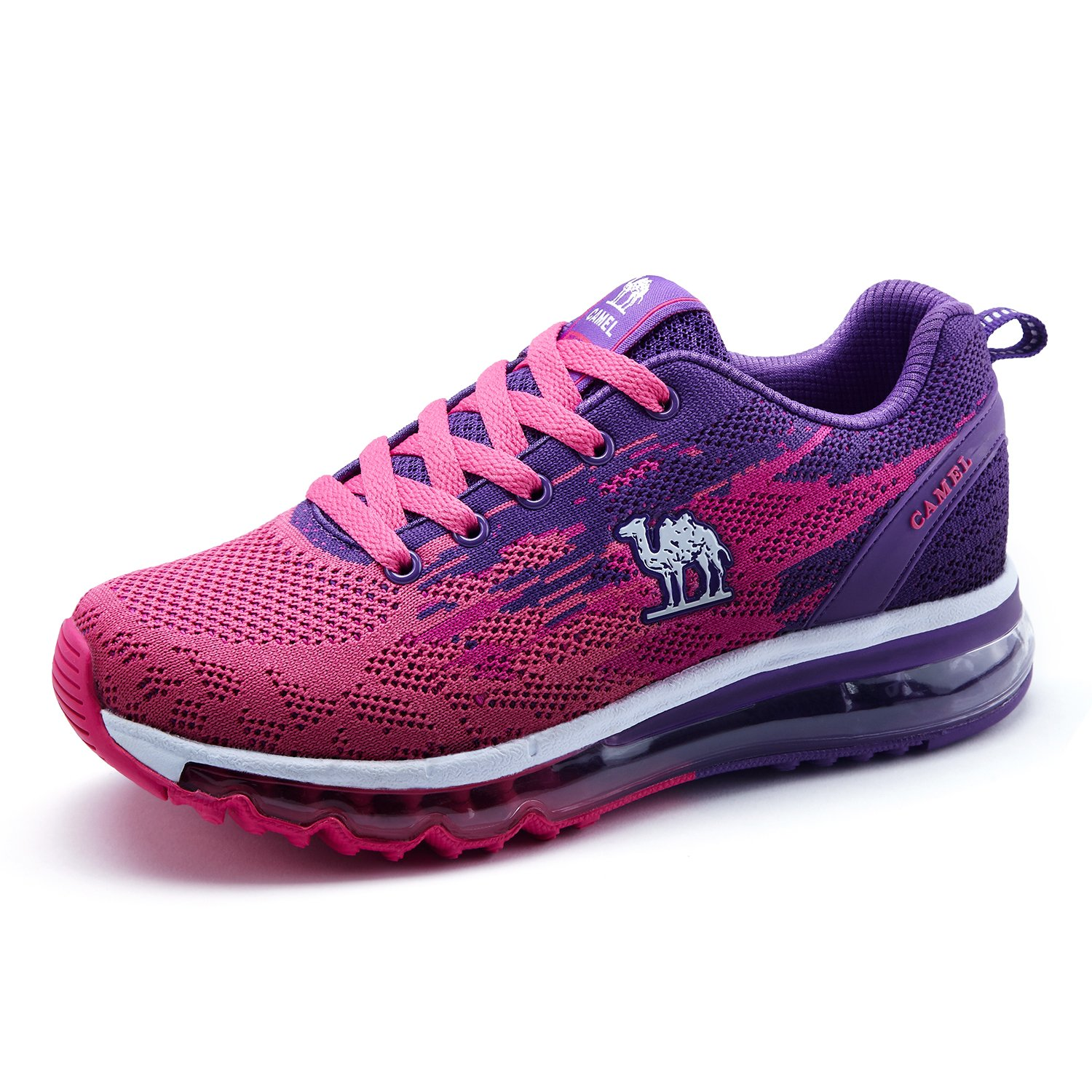 Camel Women's Fashion Sneakers Outdoor Lace-up Trail Running Shoes with Air Cushion Lightweight Breathable Color Purple Size 7.5