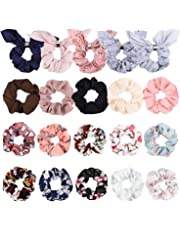 GROBRO7 20Pcs Rabbit Ear Hair Scrunchies Bunny Chiffon Hair Ties Bobbles Elastic Easter Hair Bands Cute Soft Ponytail Holder Rabbit Ear Bow Scrunchies, Various Accessories for Women
