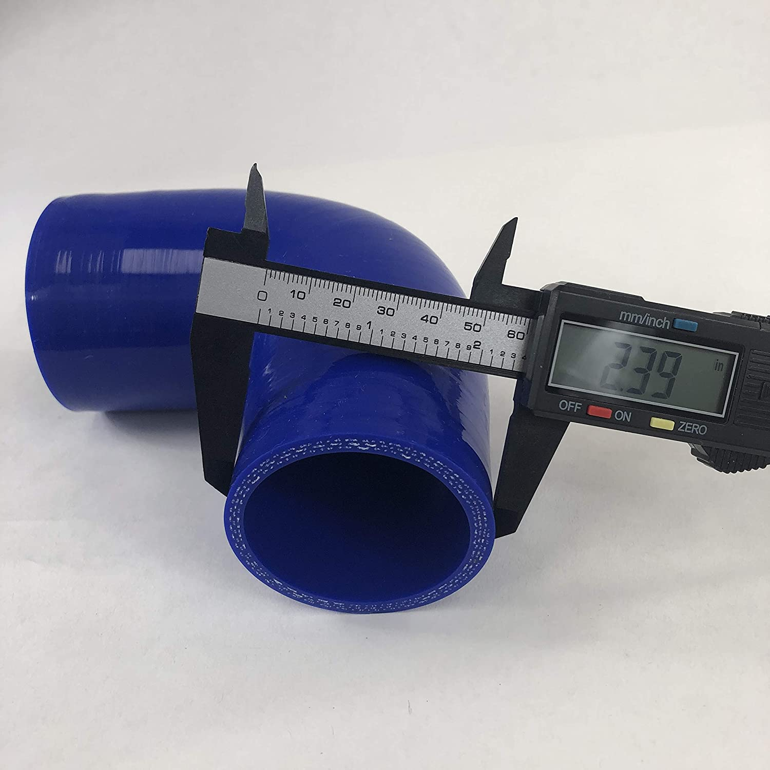 2 To 2.5 Blue 90 Degree Silicone hose Coupler 4 layer polyester