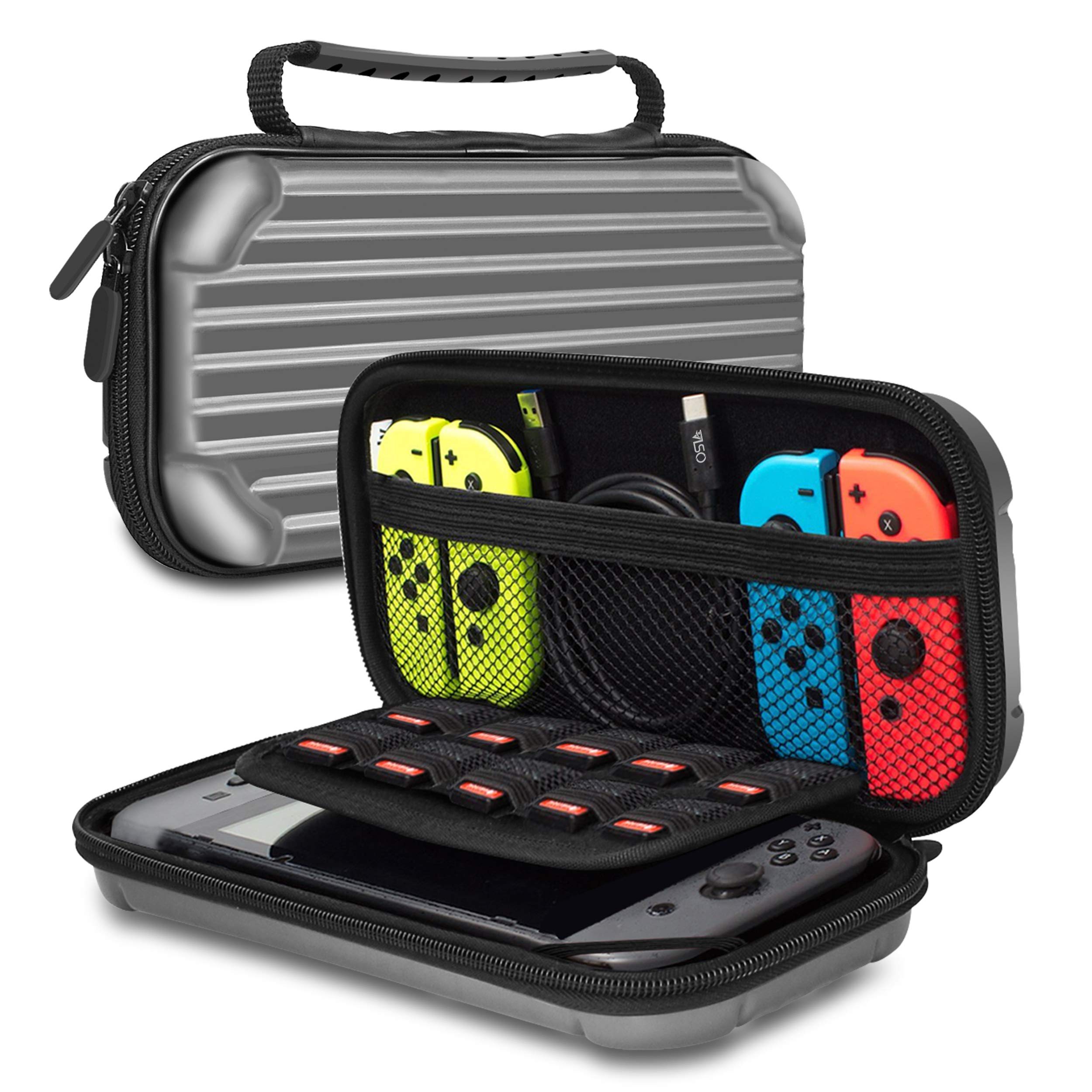 Osla Nintendo Switch Carrying Case Carrier Nintendo Switch Hard Carry Case Travel Case Hard Shell Pouch Nintendo Switch Storage for Games Mario Party Captain Toad Zelda Smash Bros Pokemon Switch Grey