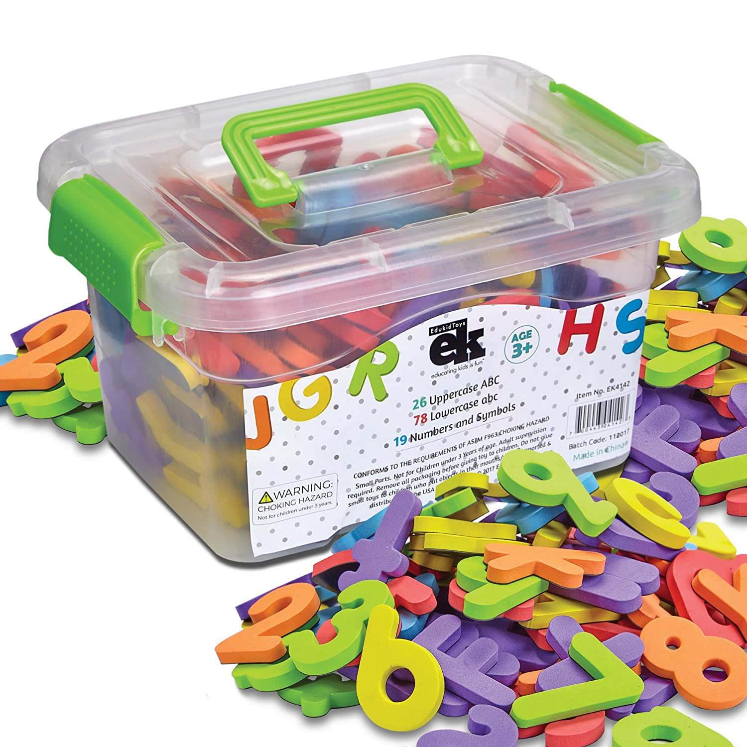 Magnetic Foam Letters and Numbers Premium Quality ABC 123 Foam Alphabet Magnets | Educational Toy for Preschool Learning Spelling Counting in Canister