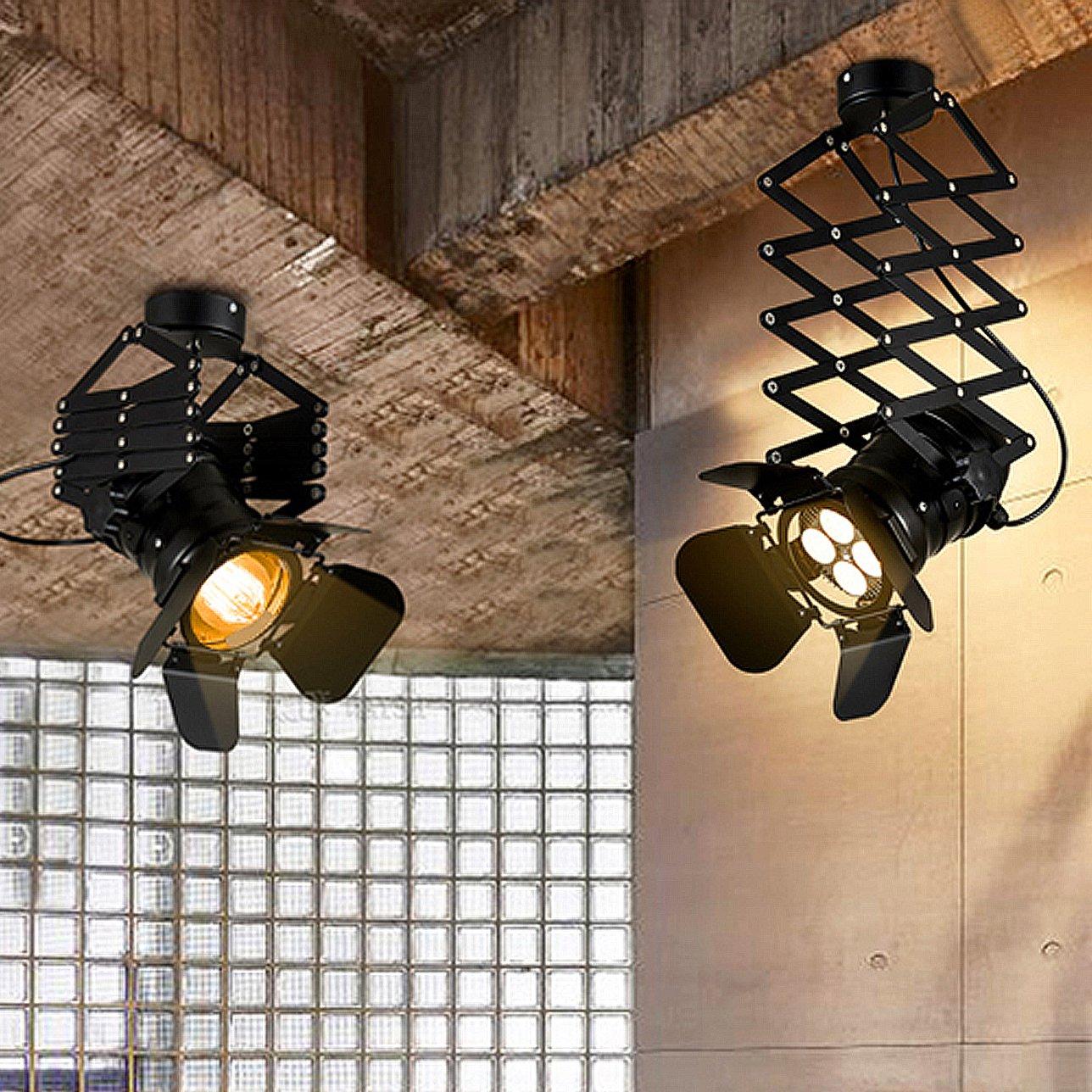 JINYU vintage industrial Lámpara Extensible Colgante Techo for Bar Restaurante Salón Lámparas de techo proyectores (bombilla no incluida)