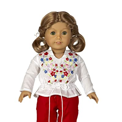 "Diana Collection Embroidered Pheasant Blouse with Drawstring Waist | Fits 18"" American Girl and Similar Dolls 
