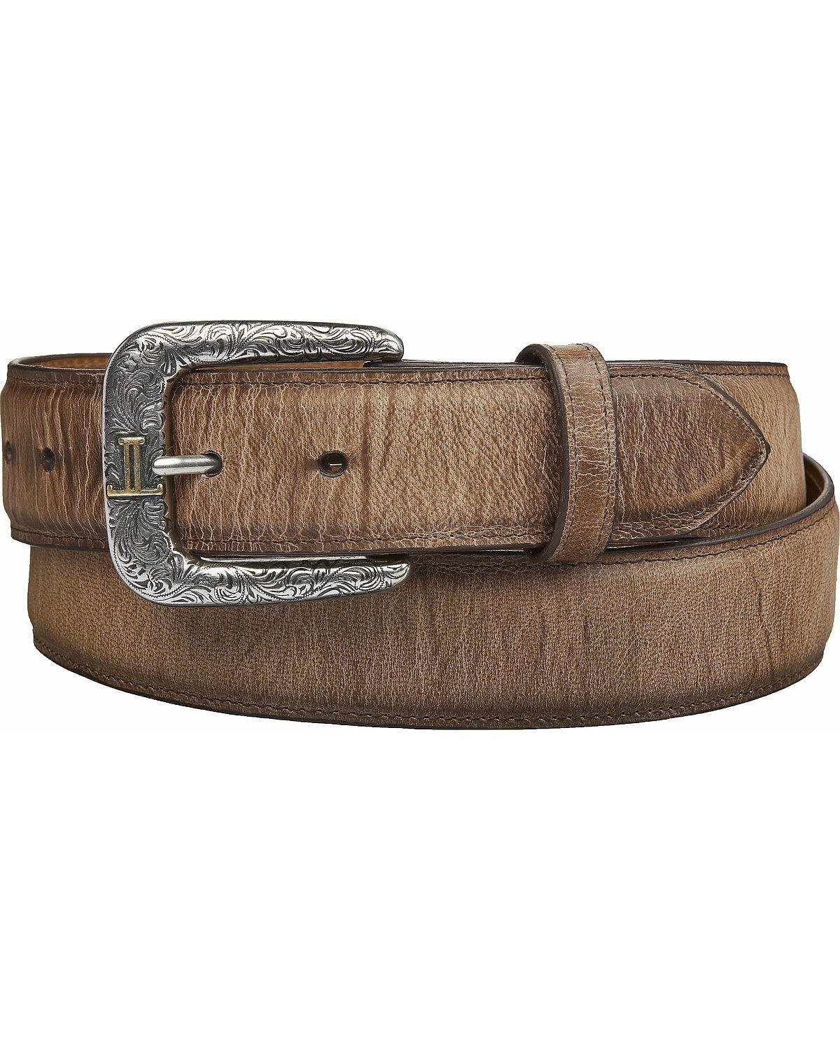 Lucchese Men's Mad Dog Goat Leather Belt Tan 38