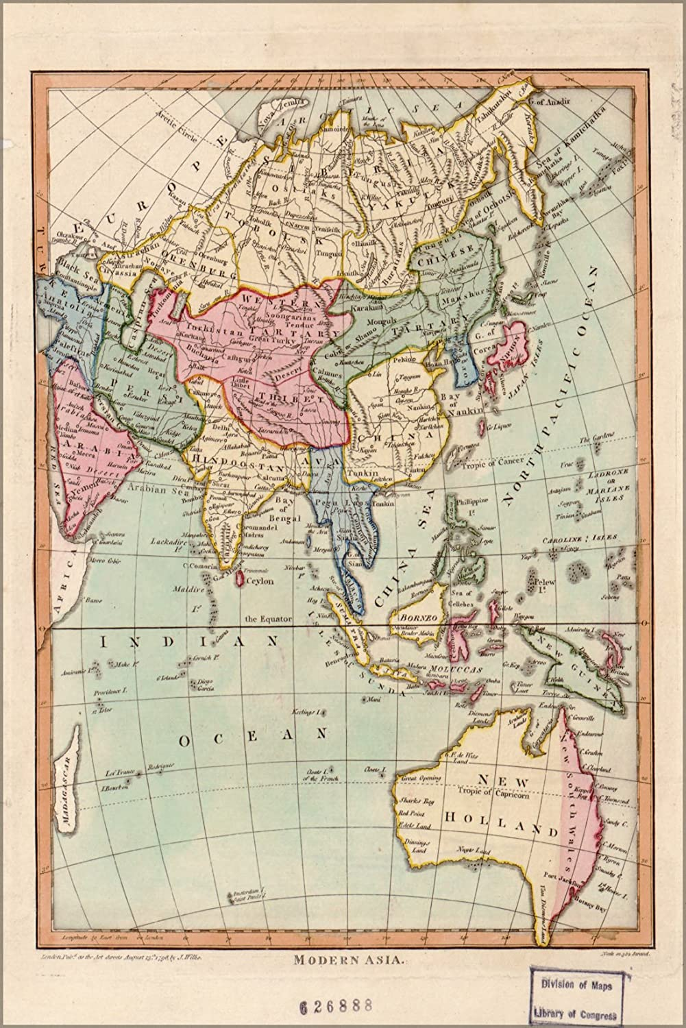 Map Of Modern Asia.Amazon Com 20x30 Poster Map Of Modern Asia 1796 Everything Else