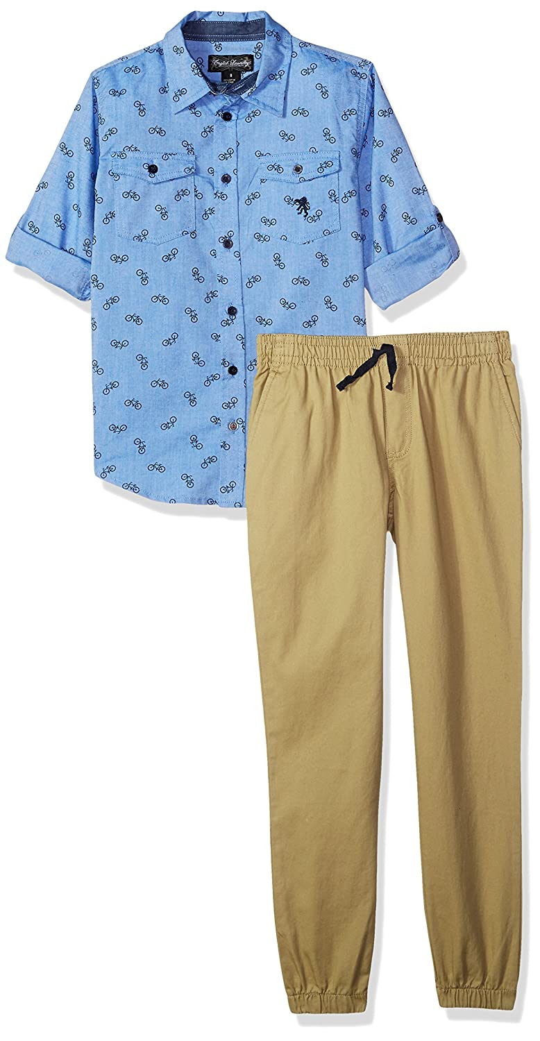 More Styles Available English Laundry Boys Long Sleeve Shirt and Pant Set
