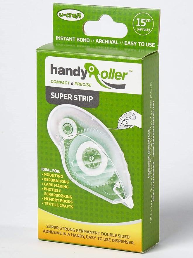 10 x Fantastak Handy Roller Tape Gun 50m Strip Tape Refill Double Sided Adhesive