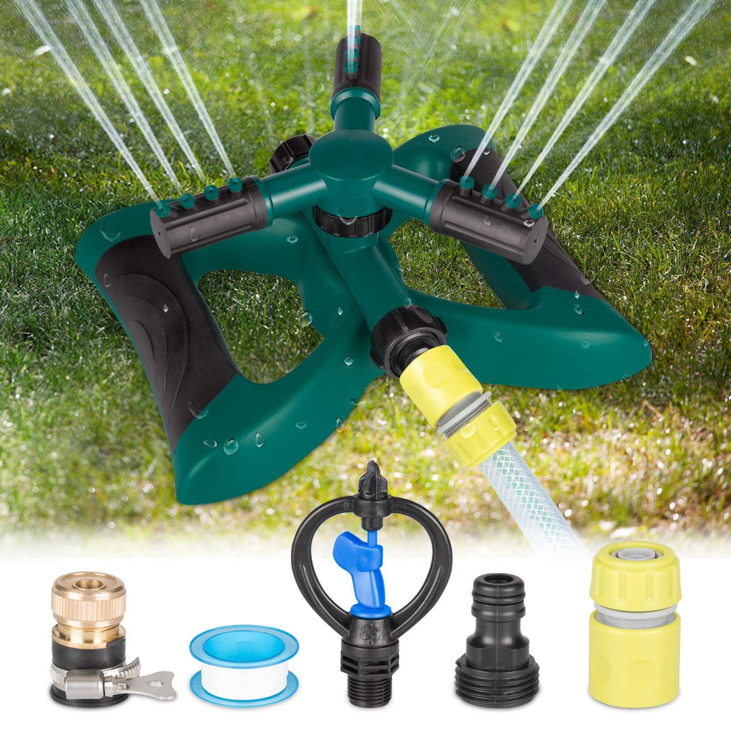 Kupton Lawn Sprinkler System, 360° Rotating Adjustable Sprinkler Head, 3-arm Sprayer Garden Sprinkler Irrigation System, Large Area Covering Up to 3600 Square Feet product image