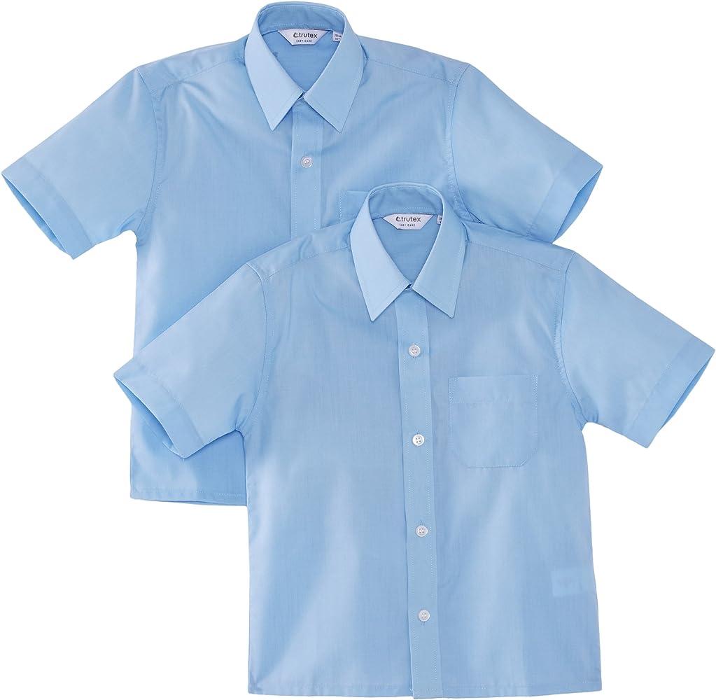 Trutex 9660, Pack de 2 Camisas casual de manga corta para niños, Azul, 3-4 Años (Talla fabricante: 11