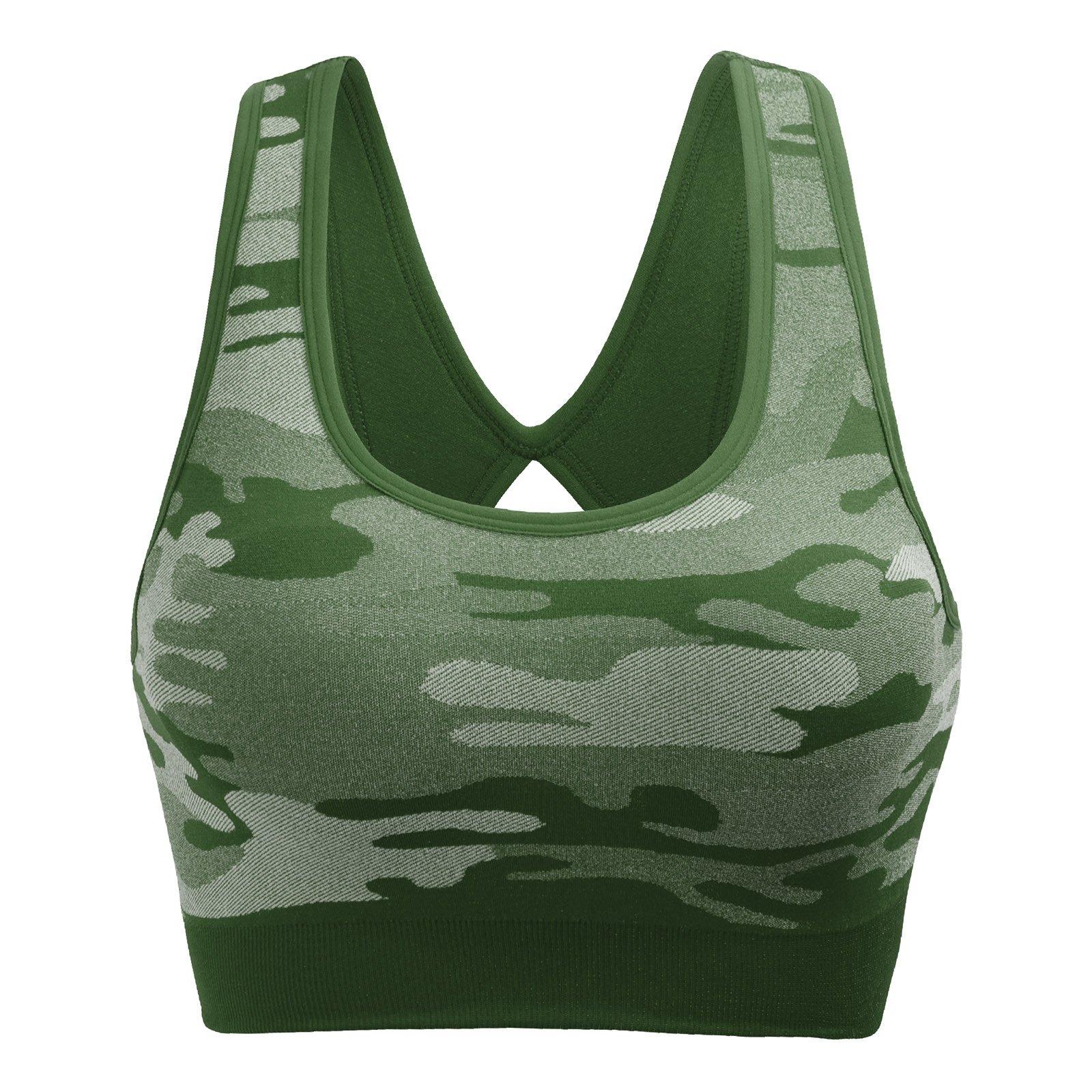 Mirity Women Racerback Sports Bras - High Impact Workout Gym Activewear Bra Color Army Size M