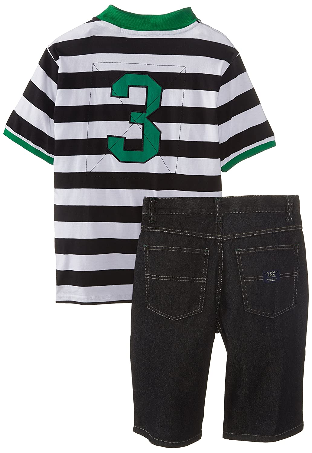 Polo Assn U.S Big Boys Wide Stripe Pique Polo Shirt and Denim Short Set US Polo Association Boys 8-20 WL05