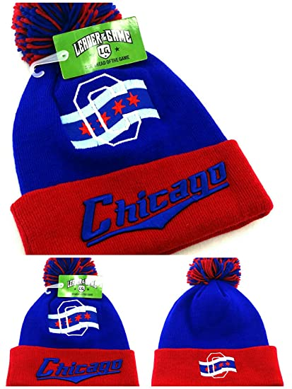 Amazon.com  Leader of the Game Chicago Top Pro New Knit Beanie Toque Pom  City of Flag Cubs Colors Blue Red Era Hat Cap  Sports   Outdoors 8963d9870ee