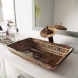 VIGO Rectangular Golden Greek Glass Vessel Bathroom Sink and Waterfall Faucet with Pop Up, Oil Rubbed Bronze