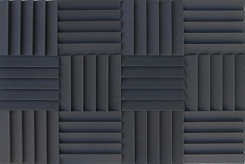 Lot de 12 pi/èces auto-extinguible. Mousse acoustique Acouspanel couleur anthracite Panneau absorbant acoustique