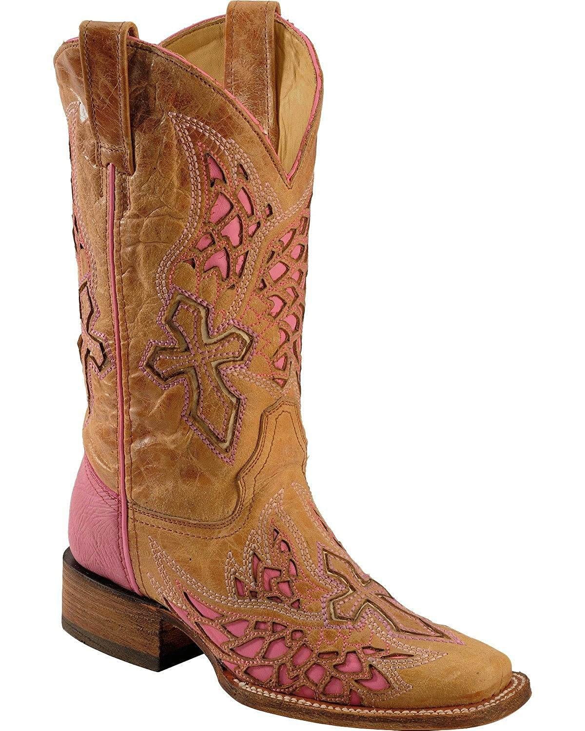 Corral Ladies Brown And Purple Side Wing Boot