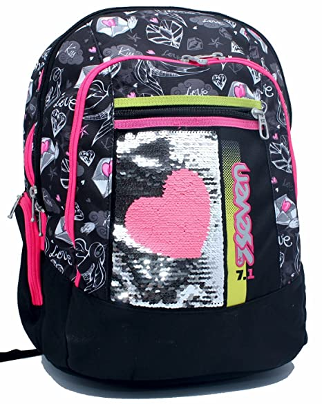 aa8fdd2be6 Zaino New Advanced Plus Nero Heart Girl Seven: Amazon.it: Valigeria