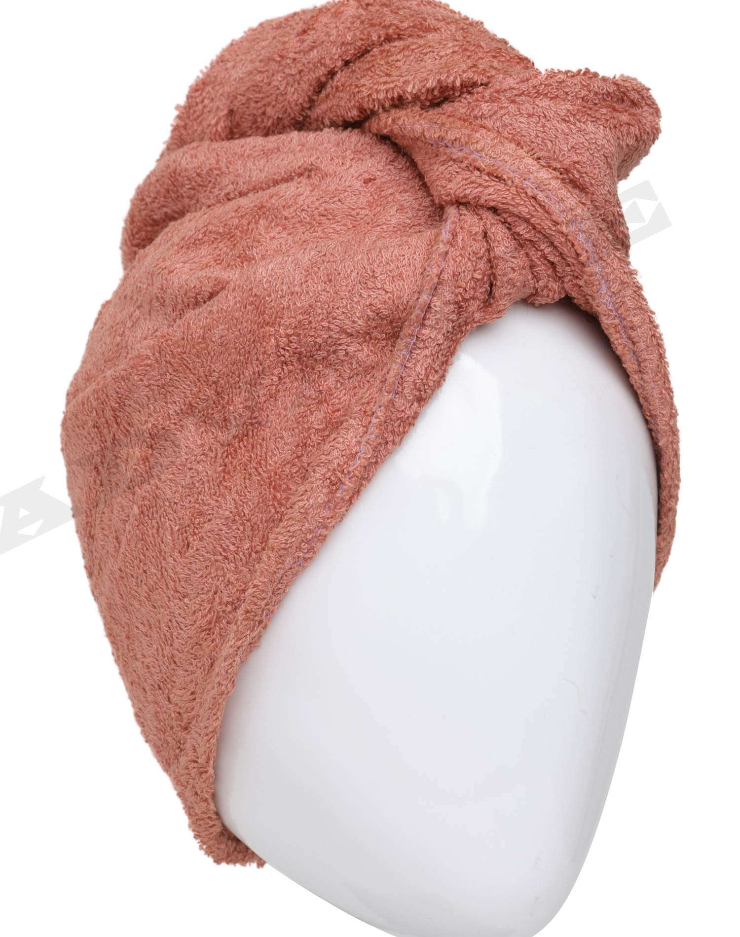 (Pack of 2) 100% Cotton Hair Bath Towel Turban Wrap Terry Long Soft Hair Drying Towels - NOT MICROFIBER (Dark Rose Pink) by advance.market