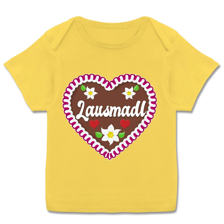 Kurzarm Baby-Shirt f/ür Jungen und M/ädchen Lausmadl Lebkuchenherz Oktoberfest Baby