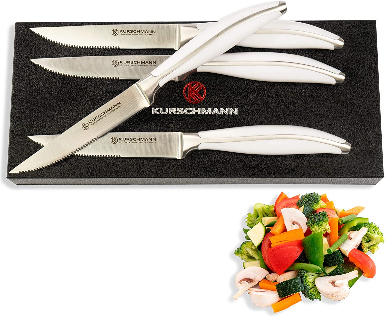 Kurschmann steak knives set of 4 - Arctic White Steak Knife Set in Gift Box with German High-Carbon Stainless Steel Serrated Blades for Easy Cutting, Rivetless Handles, Restaurant-Quality