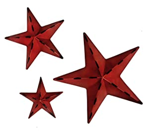 Bellaa 24124 Stars Wall Decoration Metal Art Mounted 3pcs Set
