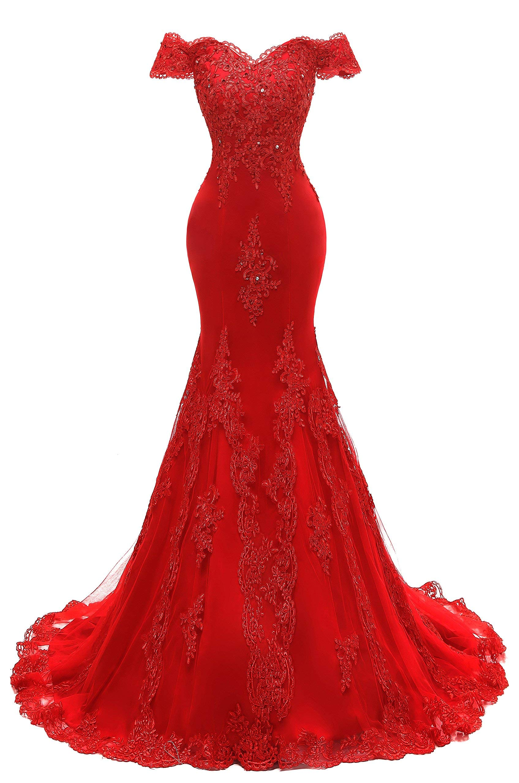 b0ea01314b ... Off Shoulder Evening Prom Dresses Lace Appliqued Beaded Formal Party  Gowns Red 04.   