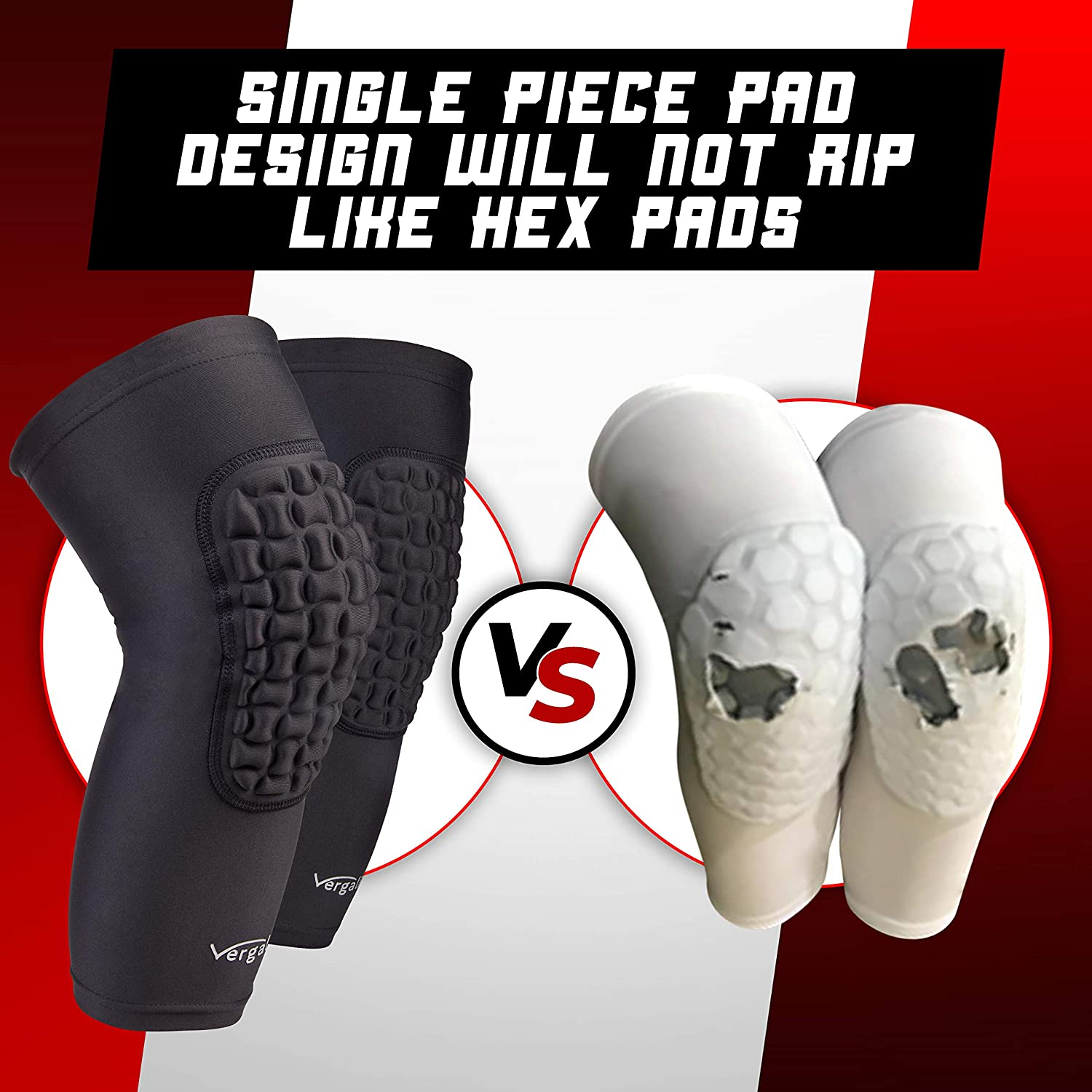 Vergali Basketball and Wrestling Knee Pads for Youth and Adult (Set of 2). Durable Padded Knee Sleeve Design Contours Around Knee to Protect Your Leg. Perfect Compression for Boys, Girls, Men, Women : Sports & Outdoors