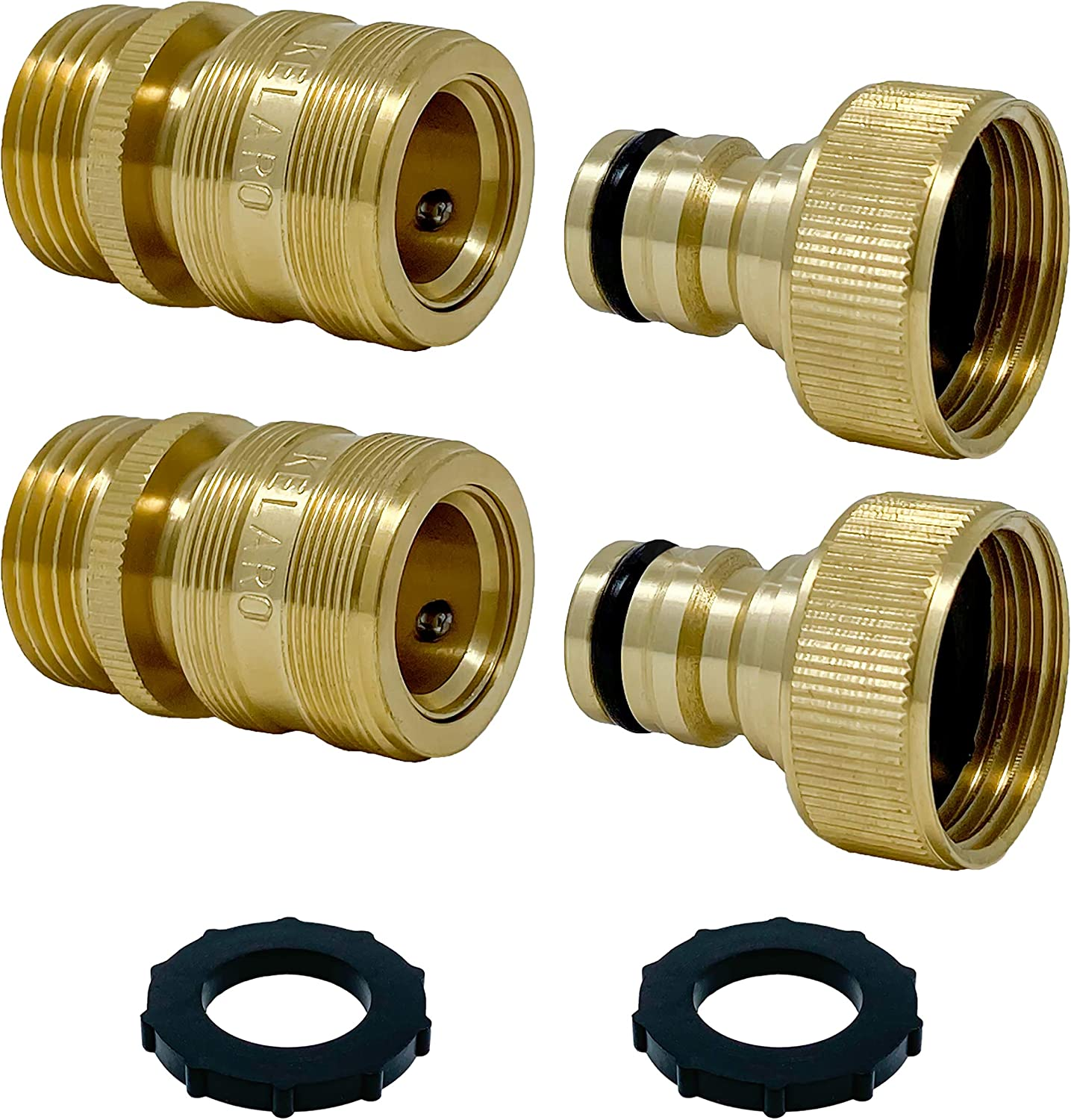 Premium Garden Hose Quick Connect Fittings (2-Pack) 3/4 Inch Solid Brass by Kelaro