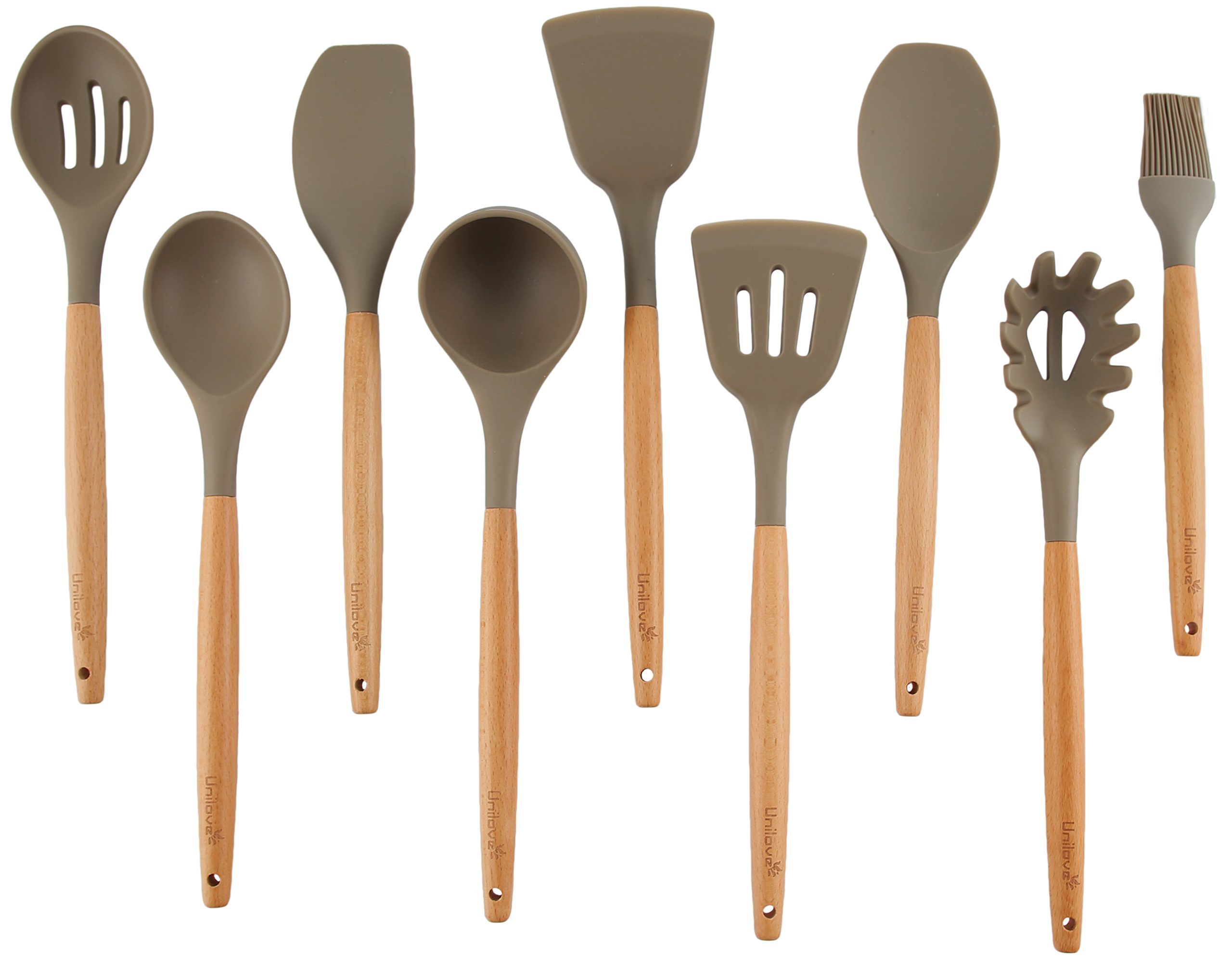 Unilove Silicone Cooking Utensil Set 9 Piece Home Kitchen Utensils Wood Cooking Utensils set for Nonstick Cookware