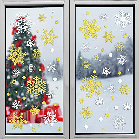 Snowflake decals Holiday Decals Gold snowflakes Snowflakes for window Christmas Window decorations Holiday Stickers Snowflake stickers