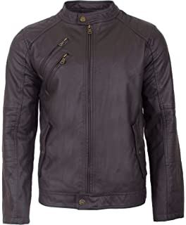 836b9d392 Black Rivet Mens Fauxleather Moto Jacket W/Quilted Shoulders at ...