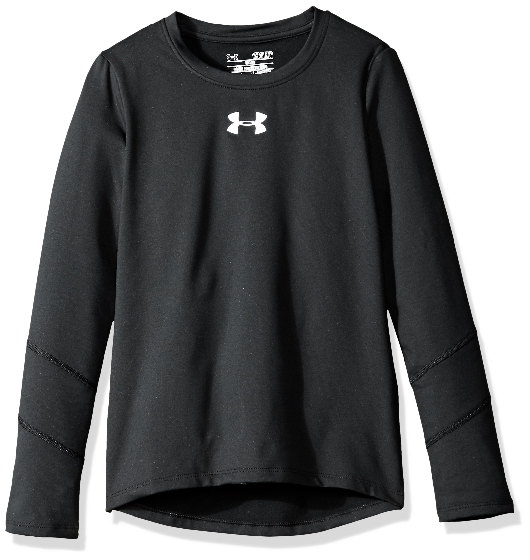 Under Armour Girls' ColdGear Long Sleeve, Black (001)/Reflective, Youth X-Small