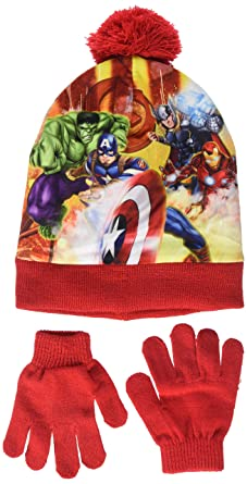 9749298203b68 Marvel Boy's Avengers Fighting Position Hat and Glove Set, Red, 2  (Manufacturer Size