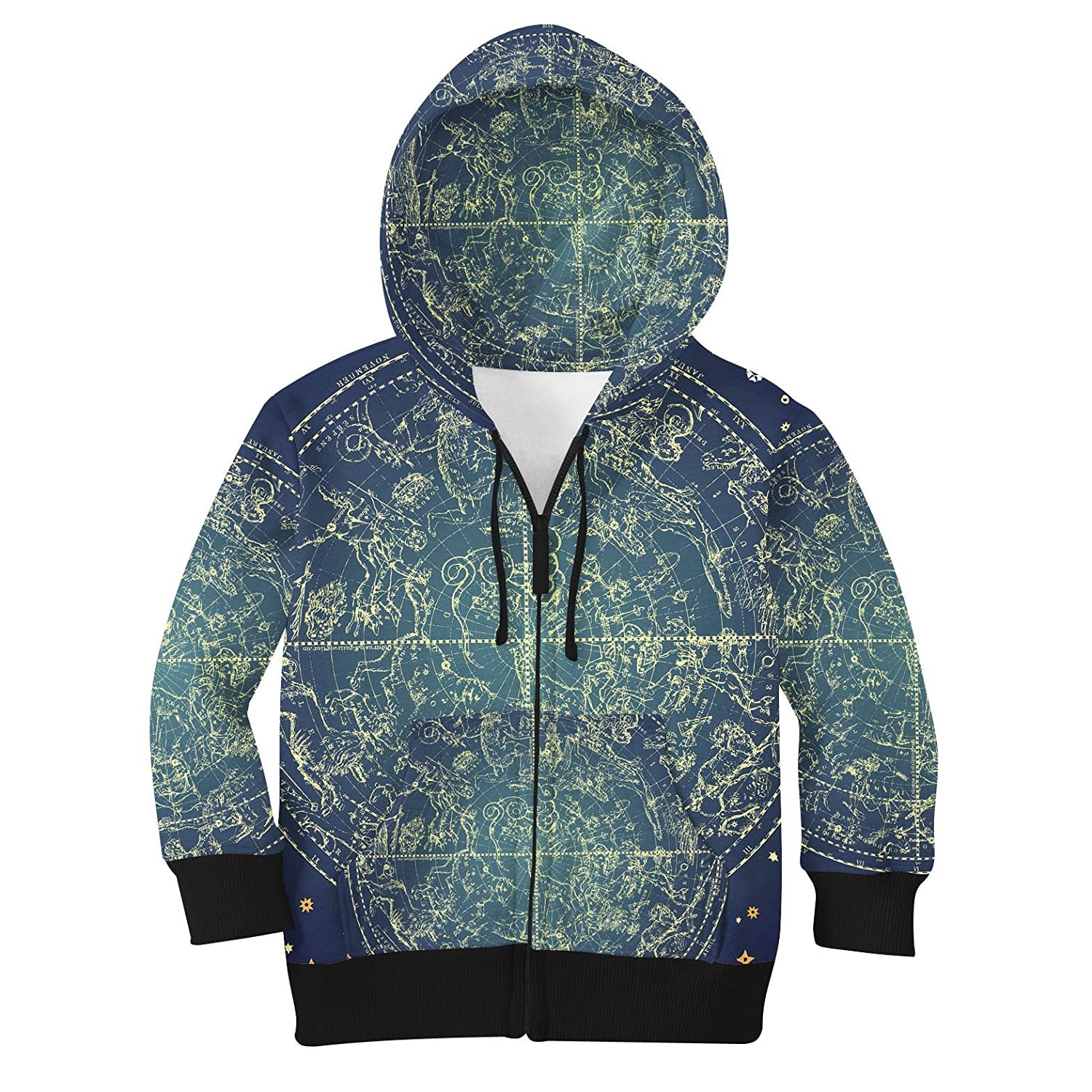 Stars Constellations Map Kids Zip Up Hoodie Unisex
