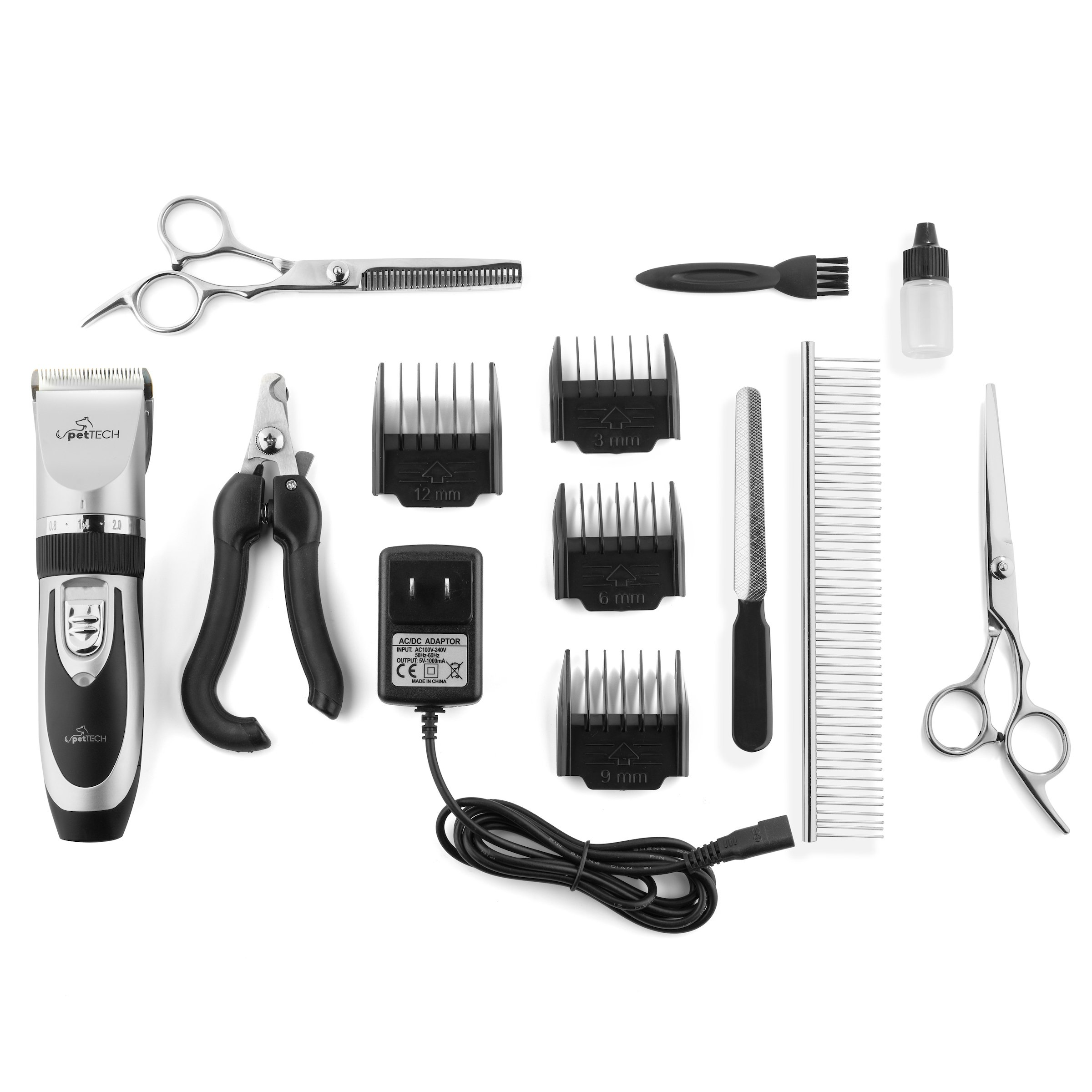 PetTech Professional Dog Grooming Kit - Rechargeable, Cordless Pet Grooming Clippers & Complete Set of Dog Grooming Tools. Low Noise & Suitable for Dogs, Cats and Other Pets by PetTech (Image #3)