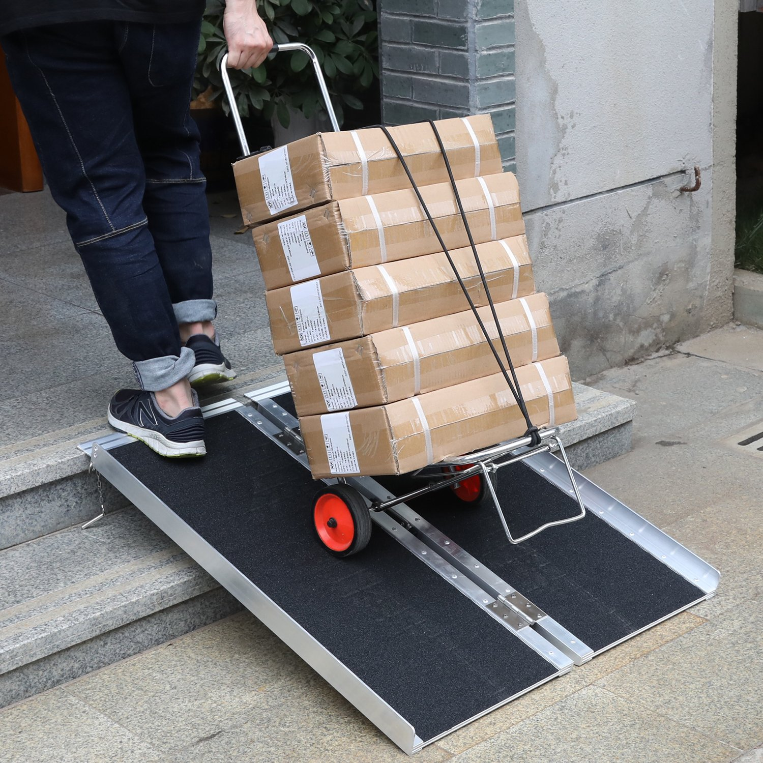 Portable Aluminum Wheelchair Ramp Foldable Separated Mobility Scooter Traction Ramp with Carrying Handle 3 Feet by Hromee (Image #4)