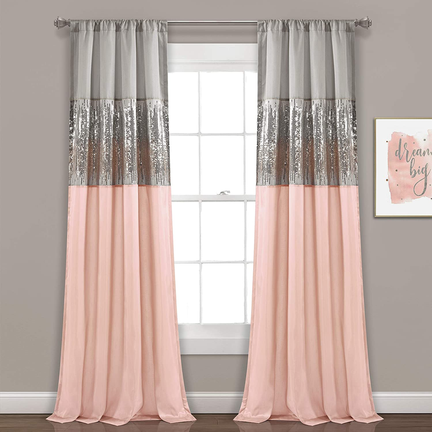 Amazon Com Lush Decor Gray And Blush Night Sky Panel For Living Bedroom Dining Room Single Curtain 84 X 42 Home Kitchen