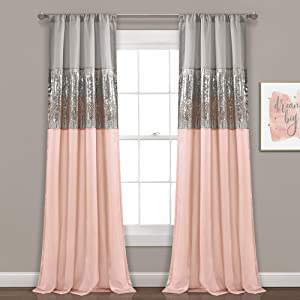 "Lush Decor Night Sky Panel for Living, Bedroom, Dining Room (Single Curtain), 84"" x 42"" Gray and Blush"