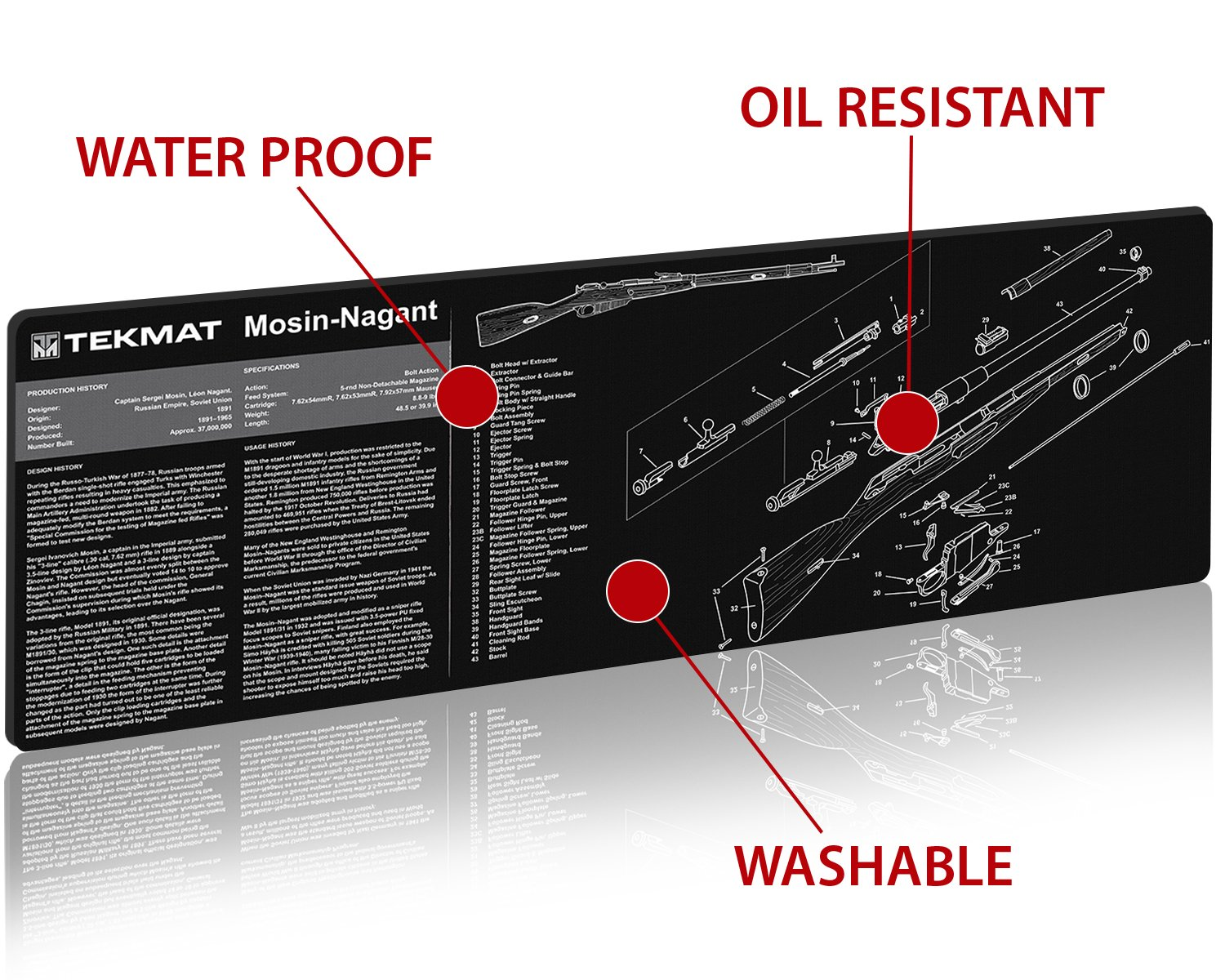 Tekmat Mosin Nagant Cleaning Mat 12 X 36 Thick Parts Diagram 91 30 Durable Waterproof Long Gun With And Instructions Armorers
