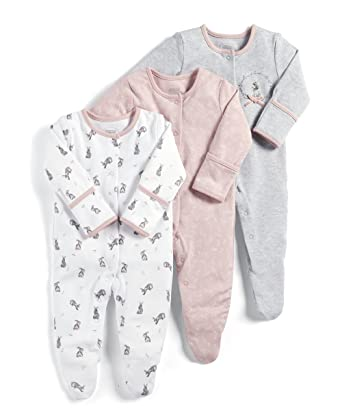 4fbd69ef7 Mamas and Papas Baby Girls  3 Pack Bright Flower Sleepsuits Footies ...