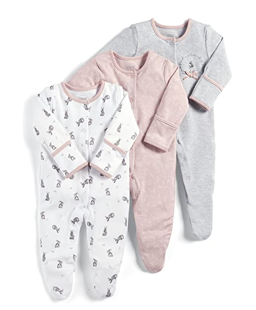Mamas & Papas 3 Pack Bright Flower Sleepsuits, Pelele para Bebés, Rosa (Pink