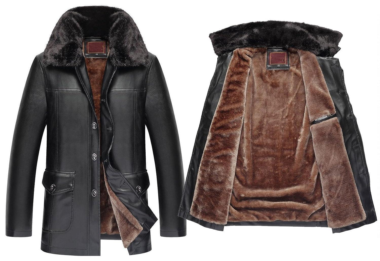 Big Mens Faux Leather Warm Velvet Jacket Plus Size M-4XL
