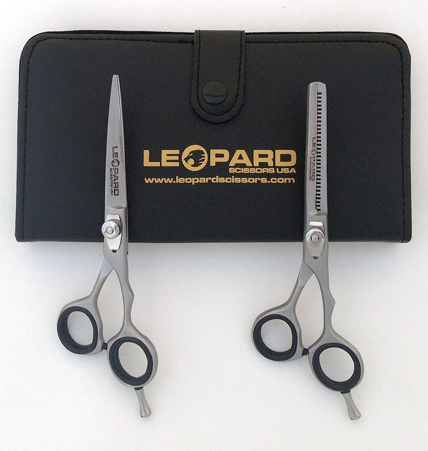 """Right Hand Shears Professional Hairdressing Scissors Hair Cutting Shears Barber Salon Styling Scissors 6.0"""" Japanese Steel with Free Case Black Color Leopard Shears Ls-225"""