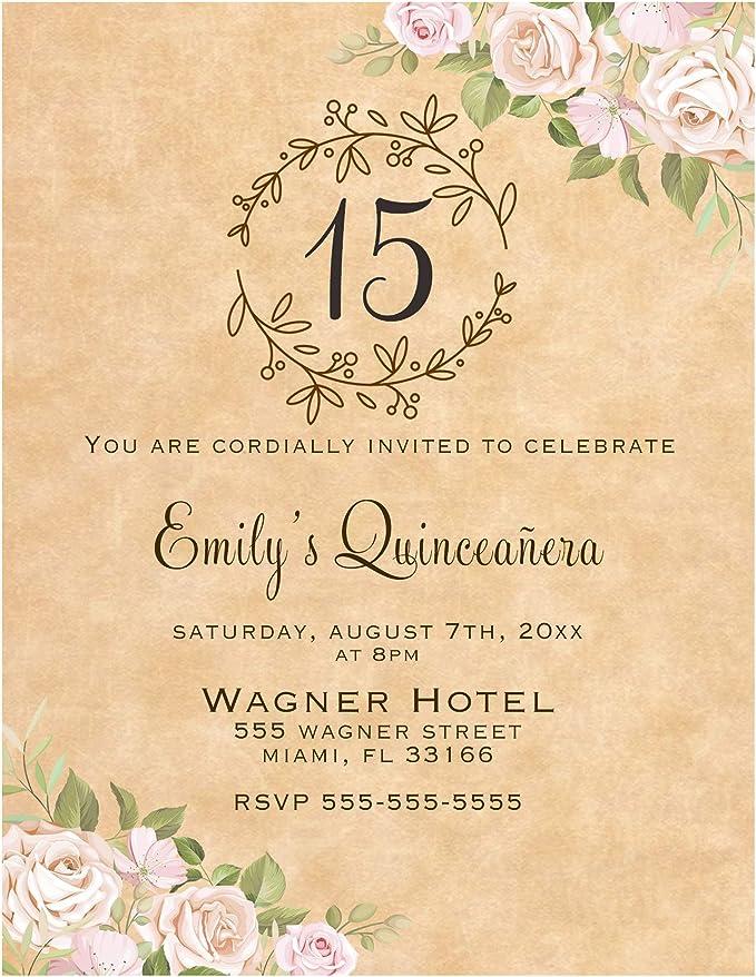 Printed Invitation Elegant Rose Quincea\u00f1era invitation or Sweet Sixteen invitation with envelopes Elegant Pink roses xv invitation