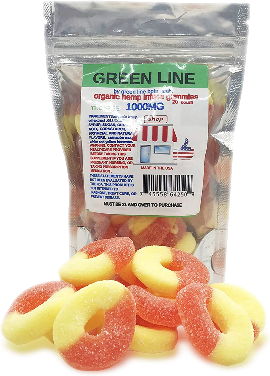 Peach Gummies, 1000 mg Premium Organic Hemp Infused Gummies,20 Count,50 mg Each,THC Free