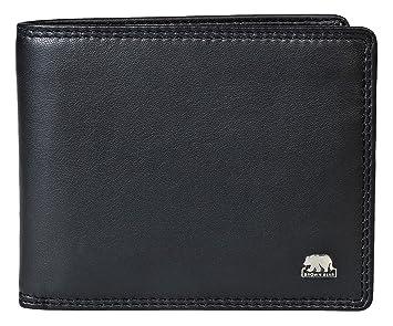 1709b9312ec87 Brown Bear Geldbörse Herren Leder Schwarz RFID Blocker Schutz 103 bk  Querformat Geldbeutel Männer Portemonnaie Portmonaise