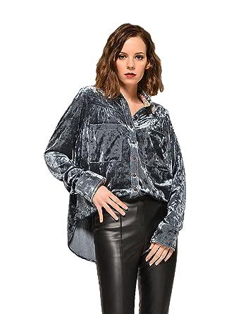 09cac5b65 CESILA Women's Boyfriend Velvet Button Down Shirt Blouse Long Roll ...